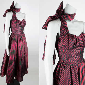 Vintage 50s Dress / 1950s Black and Red Stripe Taffeta Strapless Formal Gown with Scarf XS