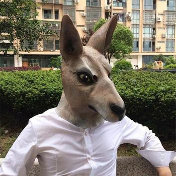 DCCKH6B High Quality Halloween Kangaroo costume play Masks funny Latex Mask Scary Animal Masks Masquerade Props Party Mask