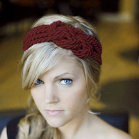 Burgundy sailor knot headband