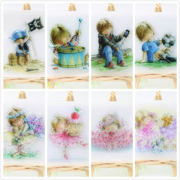 1sheet Boy Girl Transparent Clear Silicone Stamps for DIY Scrapbooking Card Making Kids Crafts Fun Decoration Supplies