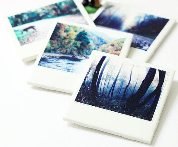 Polaroid Coaster Fall Trees Photo Set Of From