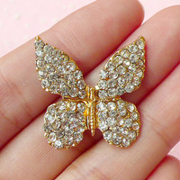 Butterfly Metal Cabochon (Gold) w/ Clear Rhinestones (26mm x 26mm) (1 pc) Bling Bling Cell Phone Deco Scrapbooking Decoration Decoden CAB229