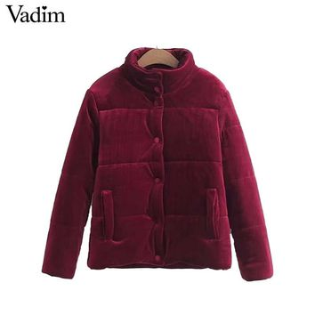Vadim women velvet basic parkas warm padded jacket solid coat buttons pockets long sleeve female casual outerwear tops CT1603