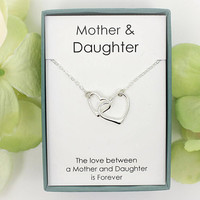 Gift for mom - Mother and Daughter necklace with interlocking hearts, 925 Sterling silver, Mother's day gifts