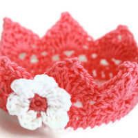 Pink baby crown crochet Newborn Photo Prop Custom available boy or girl 0 - 3 months up to 24 months