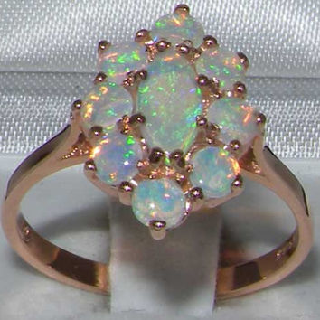 Natural Fiery Opal 9K English Rose Gold Cluster Flower Engagement Ring -Made in England-Customize:9K,14K,18K,Yellow,Rose,White