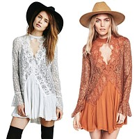 Free ship cotton fall mini short dresses lace irregular dress people slim hook short dress boho hippie style vestidos dress