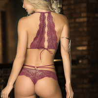 Burgundy Babe Lace Lingerie Set