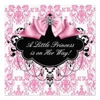Pink Black Damask Princess Baby Shower Invites