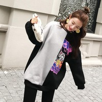 Kpop Spring&autumn Cotton Gray- Black Splice Men And Women Round Collar Sweatshirt Korean Loose Warm Harajuku  Bts Kpop Clothes