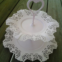 Vintage Tiered Serving Tray Shabby Chic Pink Cupcake Tray Cottage Style Embossed Handle Fluttered Edges