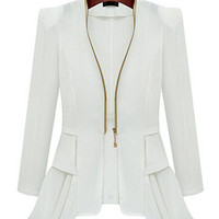 V-Neck Long Sleeve Ruffled Bottom Zip Up Chiffon Blazer
