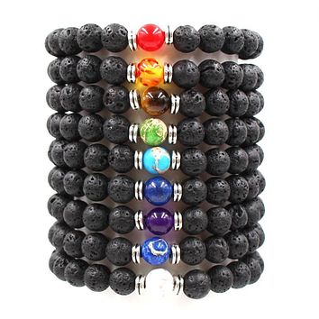 Black Lava Natural Stone 8 Reiki Chakra Stackable Beads Bracelet