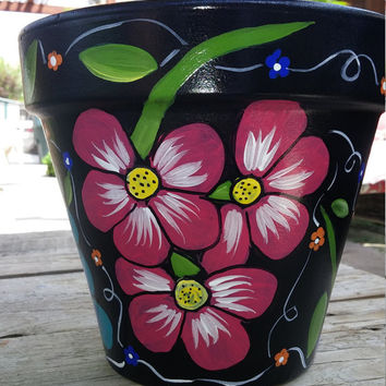 Flower pot, hand painted clay pot, pottery, Italian clay pot, planter, garden decor, home decor, floral design