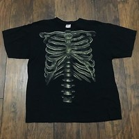 Skeleton Rib Cage Bones Black Cotton Graphic Tee Shirt Mens Streetwear Size XL
