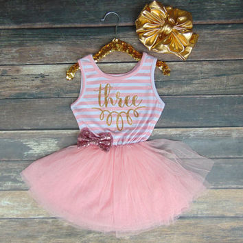 Three Birthday Pink & White Stripe Sleeveless Tutu Dress and Pink Sequin Bow - Toddler Dress -  Third Birthday Dress - Tutu Skirt Dress