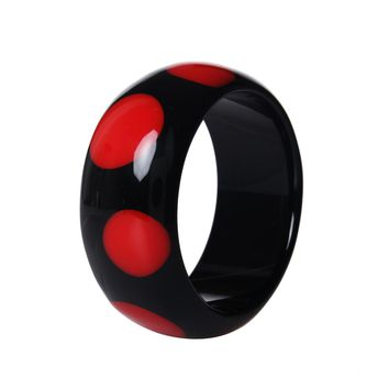 Fashion Nice Spot Resin Round Black Bangle Bracelets Pulseiras For Women 2017 New Year Personalised Gifts Jewelry 2 Colors