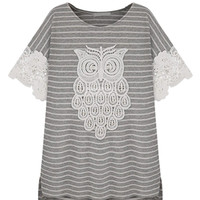 Owl Stripe Lace Short Sleeve T-shirt