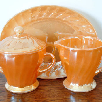 Vintage Fire King Shell Cream and Sugar Set with Small Platter, Anchor Hocking, Peach Luster, Milk Glass, Swirl
