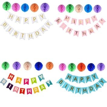 HAPPY BIRTHDAY Letter Flag Banners Flower Paper Lantern Honeycomb Balls Kid Birthday Party Home Decorations