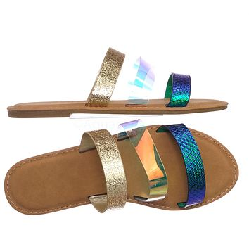 Triple Strap Colorful Summer Sandals - Blue, Gold, and Clear