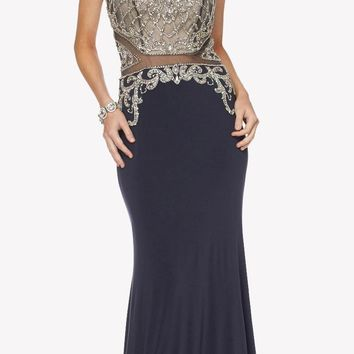 Long Prom Dress Beaded Bodice Sheer Midriff Cut Out Back Charcoal