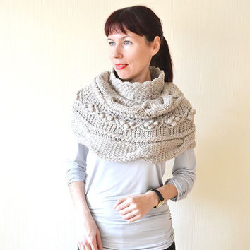 Knit capelet Handknit cowl Knit cowl Cable knit cowl Shawl cable Wedding capelet Shrug Neck warmer Knitted cowl  Poncho Wrap Gift for her