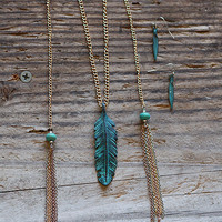 Antique Feather Tassel Necklace and Earring Set