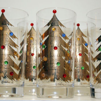 Mid Century, Signed Culver Jeweled w/ 22k Gold Christmas Tree Glasses S/6