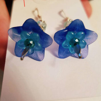 Blue Lucite Flower / Floral Bead Earrings