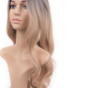 Ombre Black To Blonde Wig/ Dark Roots/ Body Wave Long Synthetic Wigs