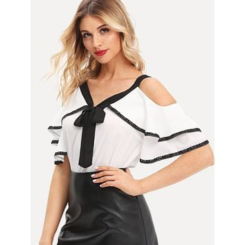 Tie Neck Lace Trim Ruffle Cold Shoulder Top