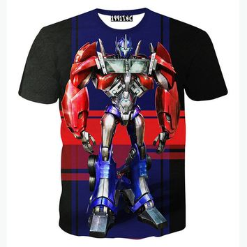 New Transformers 3D T Shirt Men Tshirt Homme 2016 Mens Fashion Optimus Prime Printed Funny T-shirts Slim Elastic T-shirt Men