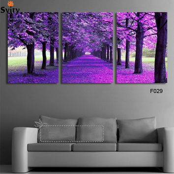 3 Panel Modern Purple Tree Canvas Painting Picture Abstract Printed Landscape Painting For Living Room No Frame Print Picture