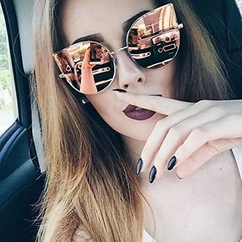 2017 New Gothic Cat Eye Sunglasses Women Retro Fashion Brand Designer Clear Mirror Cateye Sun Glasses Vintage Woman Female UV400