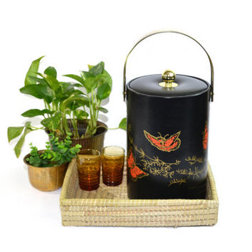 Vintage Bohemian Barware Set Boho Barware Set Butterfly Ice Bucket Wicker Tray 2 Amber Glasses Jungle Decor
