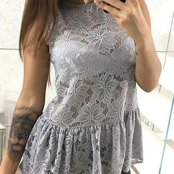 Grey Draped Lace Cut Out Peplum Bodycon Going out Blouse