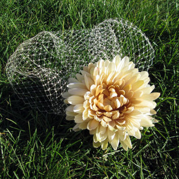 Champagne Chrysanthemum Autumn Blusher Veil Bridal Headpiece - Beige Fall Mum Wedding photo prop - Cottage Chic Bride - Eggshell