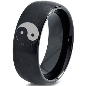 Yin-Yang Balance Black Tungsten 8mm Ring