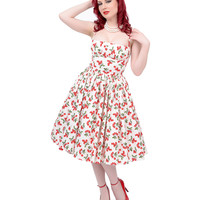 1950's Style White & Red Cherry Paris Swing Dress