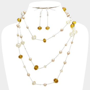 """61"""" topaz faux pearl station floating glass beads necklace 2.50"""" earrings"""