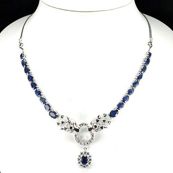 Classic Royal Blue Sapphire Panthere Ruby Necklace