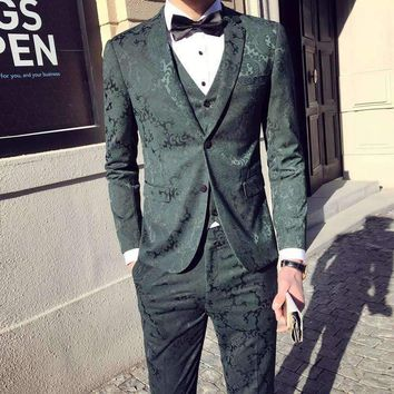 Two Button Jacquard Flower Green Suit Black Navy Luxury Suit Male Groom Wedding Suits Costume Homme Marriage Slim Fit