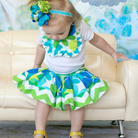 Summer green and blue flower chevron twirl skirt for children babies toddlers girls