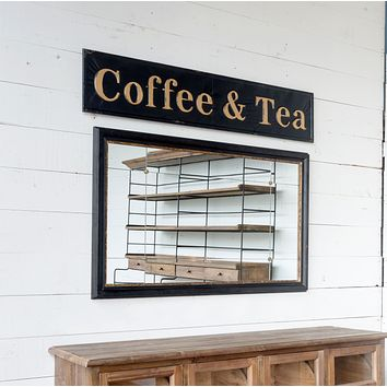 Vintage Embossed Metal Coffee Tea Shop Wall Sign - 55-in