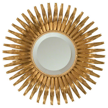 Shop round sunburst mirror on wanelo for Small gold mirror