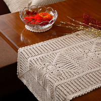 PineEye CROCHET RUNNER - Vintage Design - Handmade Crochet - Crochet Table Runner for Home Decor, Wedding, Birthdays, Bridal & Gifts.