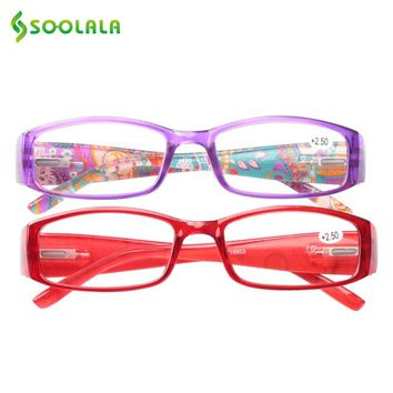 SOOLALA Cheap Spring Hinge Women Men Printed Reading Glasses With Patterned Arms Presbyopic Reading Glasses +1.0 to 4.0