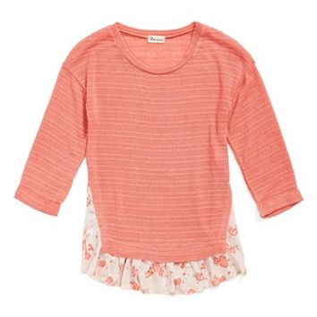 Girl's Ten Sixty Sherman Knit & Chiffon Top,
