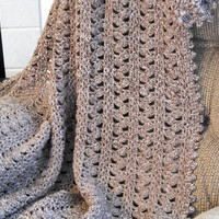 Crocheted Blanket / Afghan / Throw in Taupe Mist, (many other colors available)